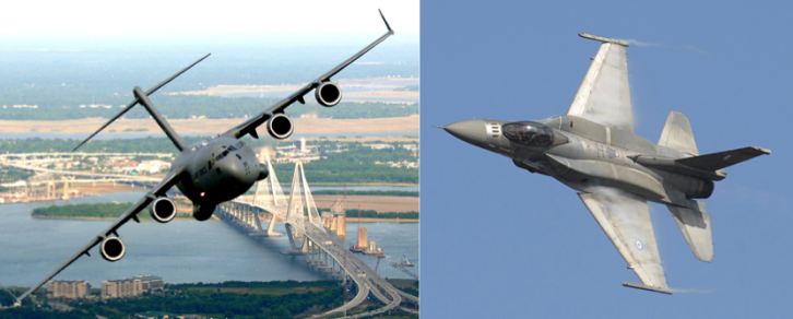cargo plane vs jet fighter